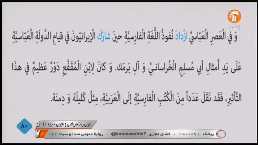 ویدیو آموزش درس6 عربی یازدهم بخش 2