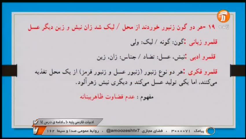 ویدیو آموزش درس 14 فارسی دهم بخش2